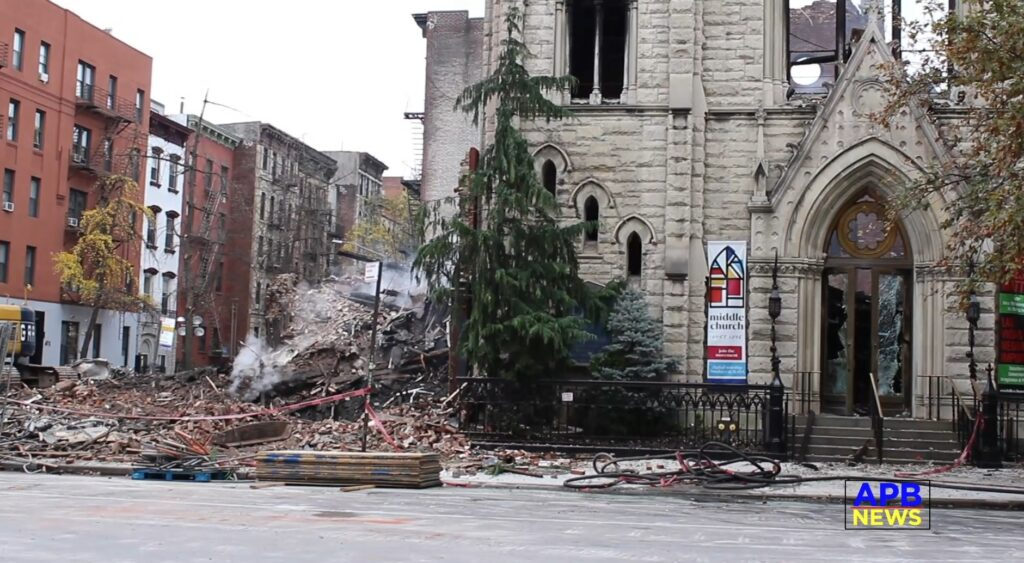 Smoke Continues to Smolder at the Site of Ruins of the NYC Church Fire